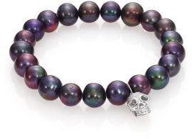 Sydney Evan Diamond, 9MM Black Baroque Pearl & 14K White Gold Skull Charm Bracelet