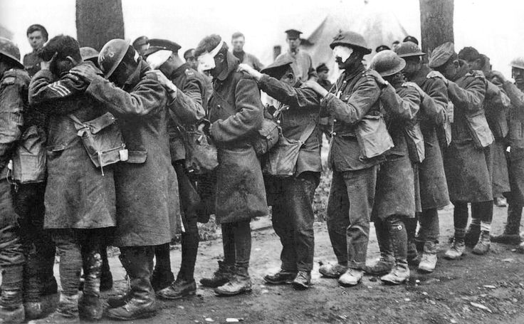 Ypres, Belgium - April 10, 1918. British soldiers, suffering from blindness, awaiting medical treatment following a tear gas attack during the Battle of Estaires.    After suffering temporary blindness himself during WWI, Adolf Hitler forbade the use of chemical warfare by the German military during combat in WWII.