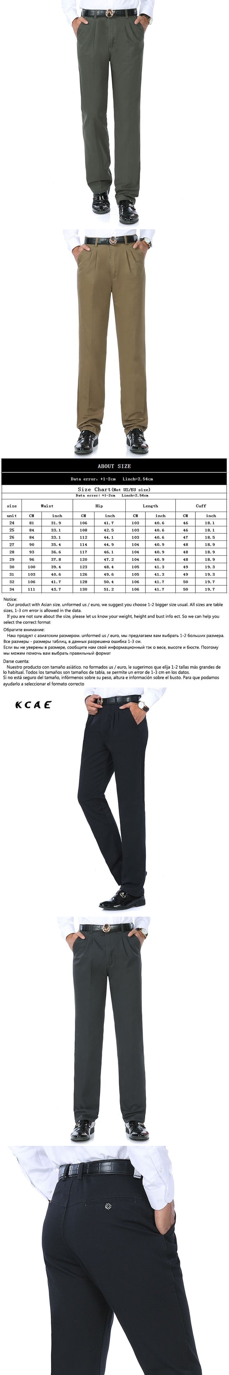 Autumn and winter cotton slacks in the elderly men 's long - sleeved cotton long pants business men straight trousers Size 32 34