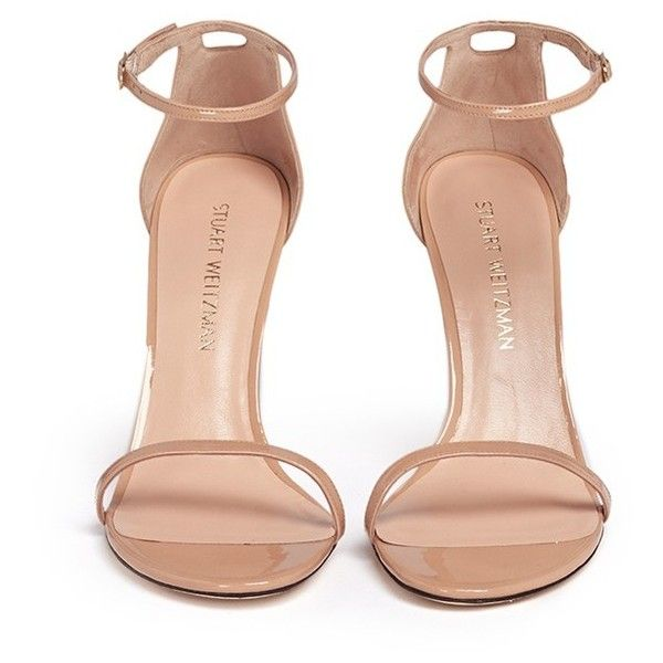 Stuart Weitzman 'Nudist Song' ankle strap patent leather sandals (19,410 PHP) ❤ liked on Polyvore featuring shoes, sandals, heels, zapatos, ankle strap sandals, ankle strap heel sandals, stuart weitzman, patent shoes and summer shoes