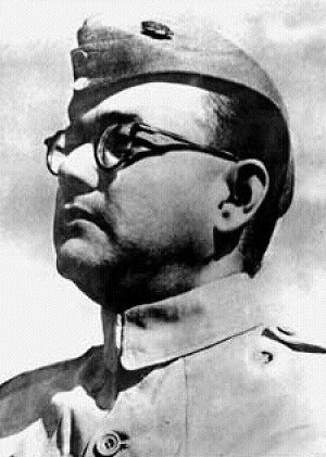 "Subhash Chandra Bose [ known by name Netaji (Hindi: ""Respected Leader"") ] in his uniform of the INA -- Indian National Army -- of the pre-independence era. He was an Indian revolutionary who led an Indian national political and military force against Britain and the Western powers during World War II. Bose was one of the most prominent leaders in the Indian Independence Movement, and is considered a legend in India."
