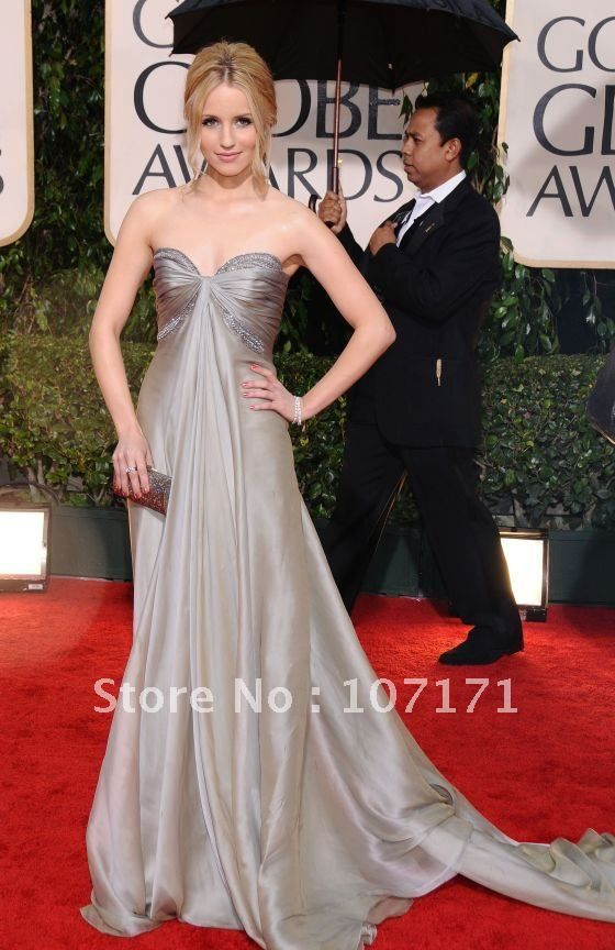 Dianna agron sweetheart beaded silver chiffon red carpet dress celebrity dress what to wear - Silver red carpet dresses ...