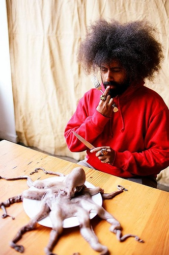Reggie Watts w octopus, Portland OR by jellyfishheart, via Flickr