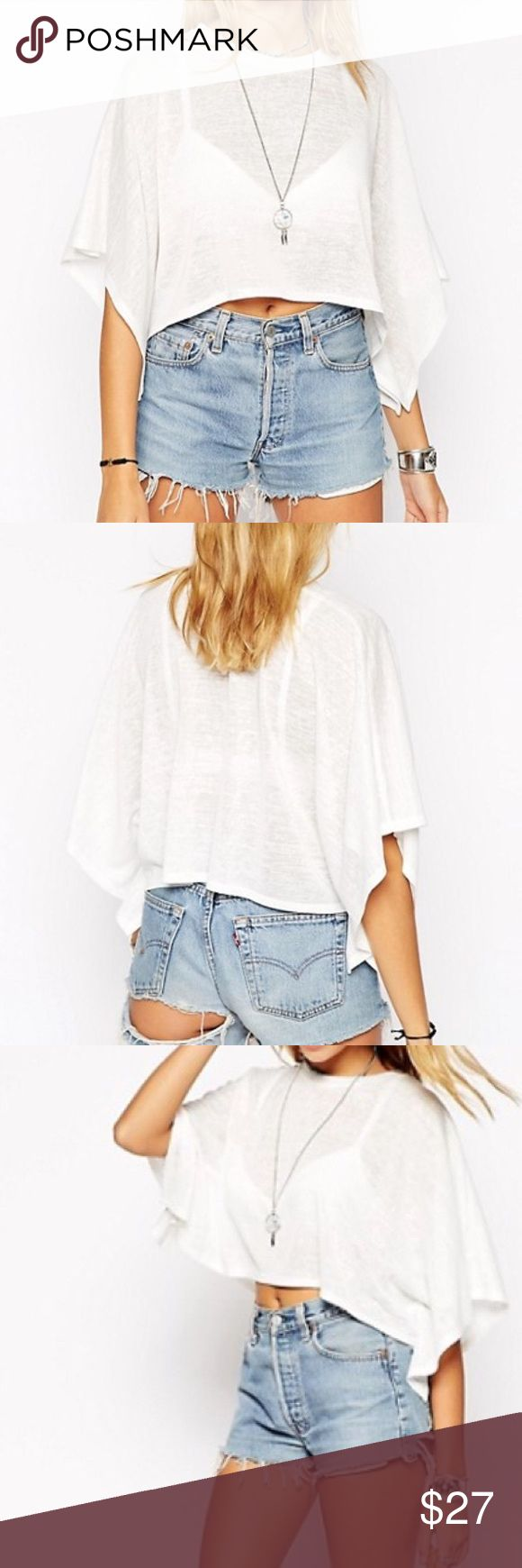 Asos kimono poncho boxy festival crop top Boxy knit crop top. Off white cream. Slightly sheer but not see through at all. Nude bra looks great. Worn once, perfect condition. Size 4 fits like XS-S ASOS Tops Crop Tops