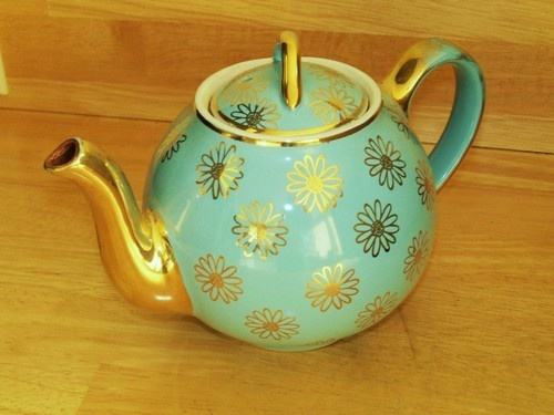HALL pottery French baby blue and gold 6 cup teapot 40usd