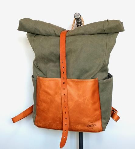 $250 - Hunker bag co - HIGHWAYMAN WAXED CANVAS ROLLTOP BACKPACK Crafted of weather-resistant waxed canvas