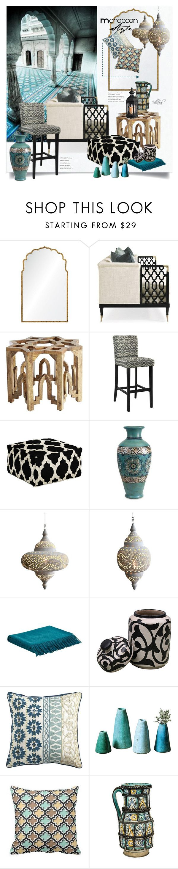 """məˈrɒkən"" by riza-villareal on Polyvore featuring interior, interiors, interior design, дом, home decor, interior decorating, Mirror Image Home, Surya, Imax Home и Yves Delorme"