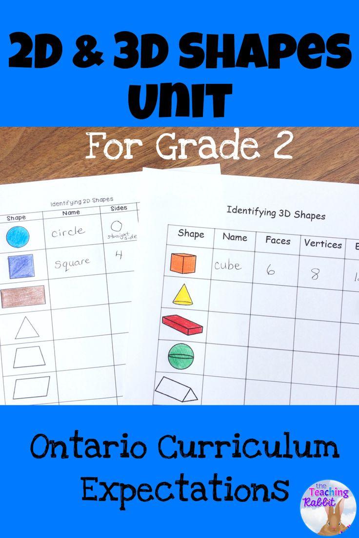 2d  u0026 3d shapes unit for grade 2  ontario curriculum