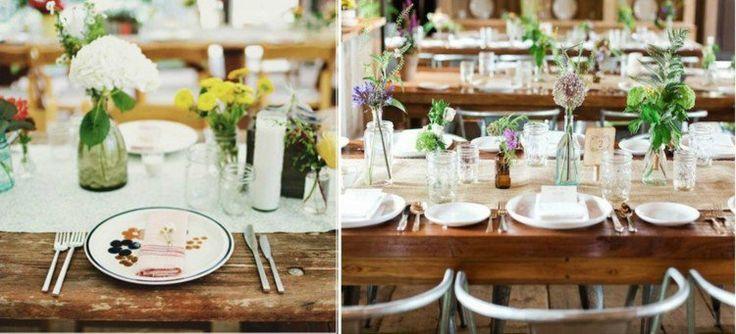déco de table pour mariage - centre de table de fleurs des champs, chemin blanc et vaisselle épurée