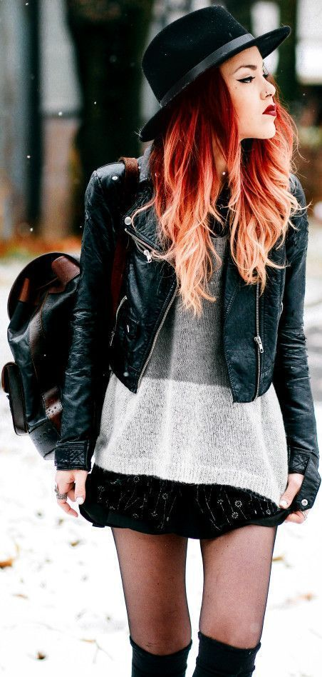 OOH fiery red/orange hair with extreme dip dyed or ombre platinum tips! I love!