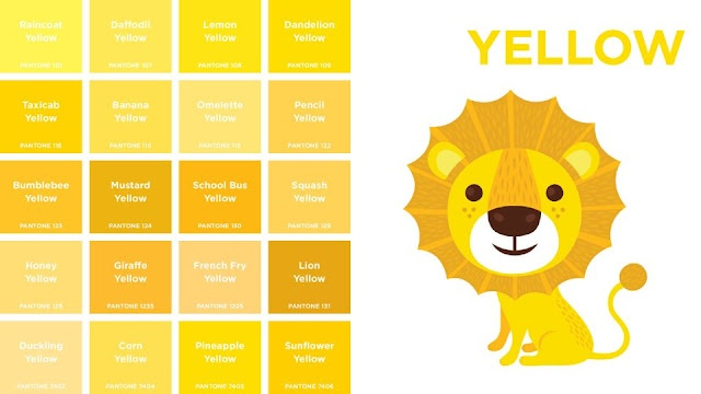 giraffe yellow, lion yellow, school bus yellow, pencil yellow