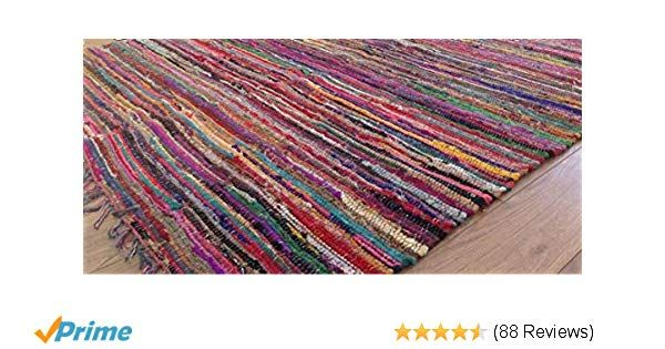 Second Nature Online Rag Rug Multi Colour Fair Trade Shabby Chic Chindi Flat Weave Reversible Indian Hand Loomed Small Medium Larg In 2020 Flat Weave Area Mats