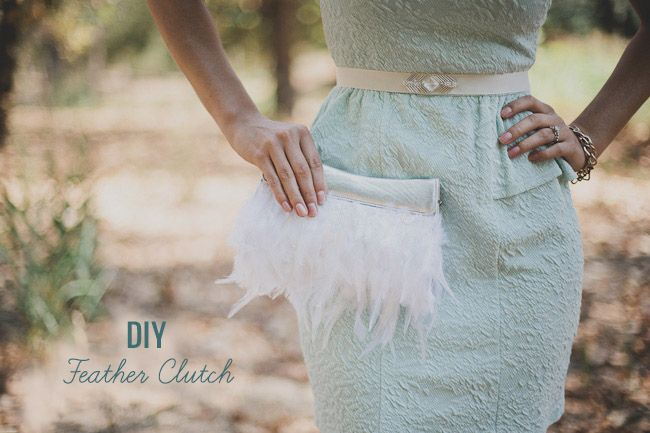 DIY Feather Clutch ~ **Free Instructions to make this pretty clutch ~ Will make a great accessory when paired with any item in your wardrobe; from a dress, a skirt even with  jeans**
