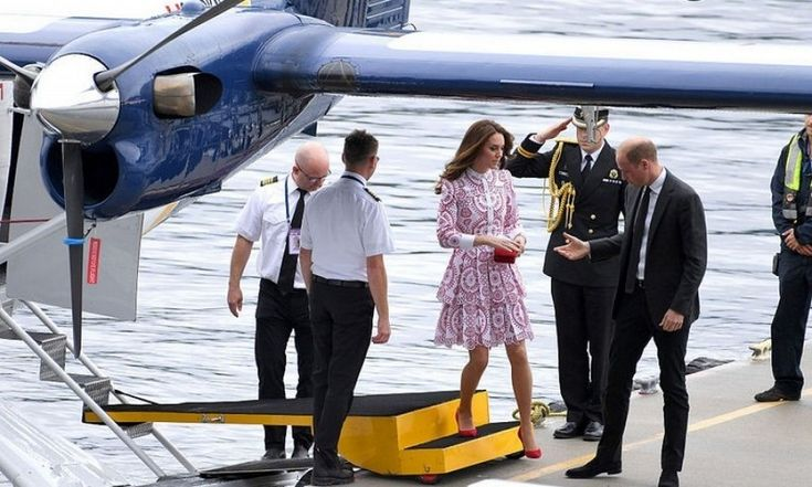 Prince William was ever the doting husband as he helped his wife off a seaplane upon arrival to Vancouver.