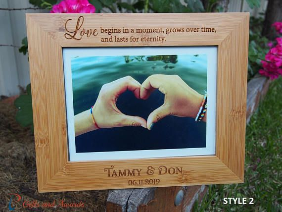 FREE DELIVERY-Personalised bamboo engraved photo frame-hold