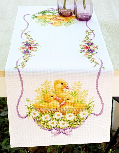Buy Ducklings With Daisies II Counted Table Runner, 32 x 84cm Stamped Cross Stitch Kit Online at www.sewandso.co.uk