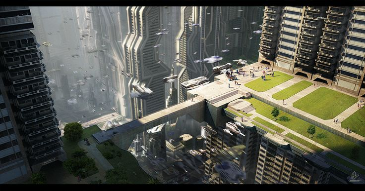 sci fi cities | Sci-fi City Downtown by ~JadrienC on deviantART