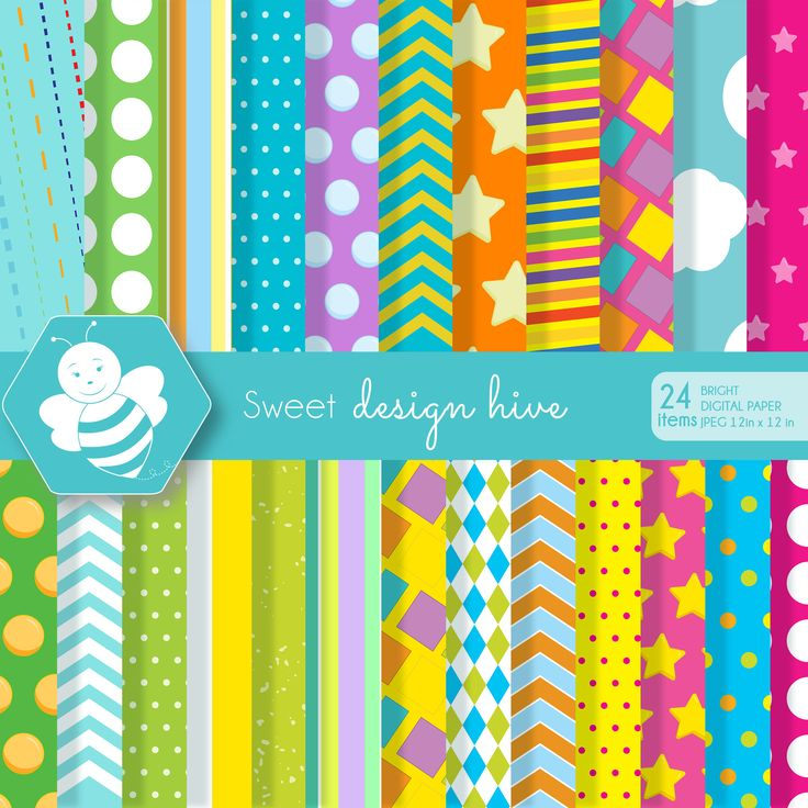 bright colors digital paper, scrapbook papers, polka dots background, chevron, stripes, stars, commercial use, DP4056 by Sweetdesignhive on Etsy