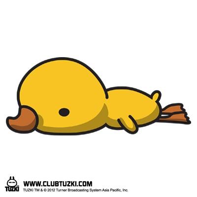 Tuzki & Duck:  Everyone says hi to my plush duck! :)