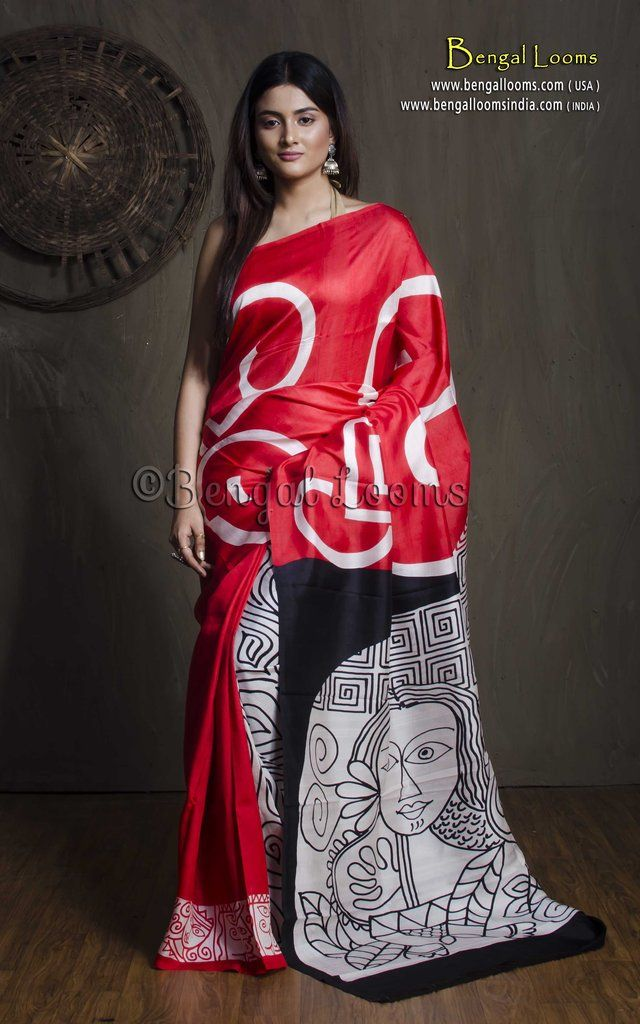 d3c53d6be8b8eb Printed Pure Silk Saree in Red and Black in 2019
