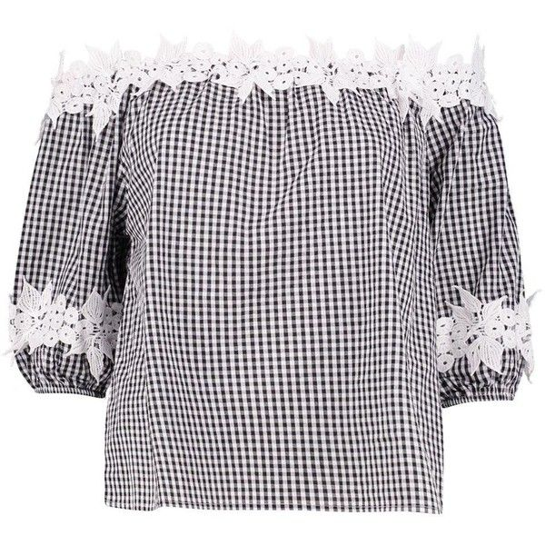Boohoo Willow Gingham Crochet Bardot Top (555 MXN) ❤ liked on Polyvore featuring tops, crochet tops, kimono top, off the shoulder crop top, polka dot crop top and cami crop top
