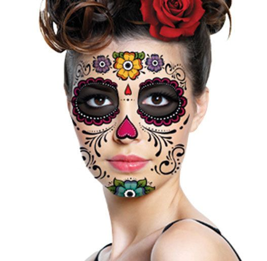 Think I may have found my Halloween costume. This temp tattoo with a silk flower crown and a funky dress. Love Day of the Dead art! Sugar Skull Flowers and Hearts Temporary Tattoo for by TattooMint, $12.99