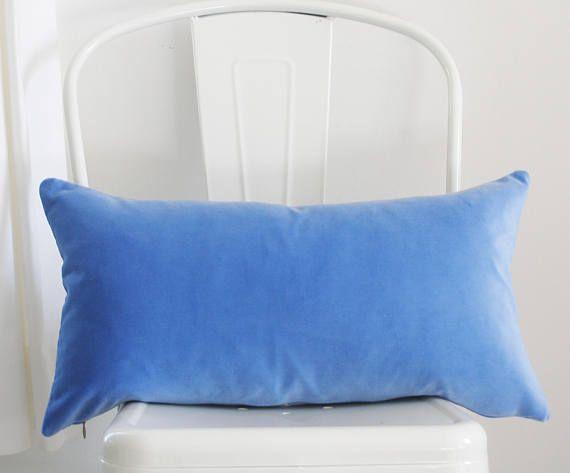 Decorative Pillow Cover Periwinkle Blue Velvet 11x21 Lumbar Kravet Cotton Ready To Ship