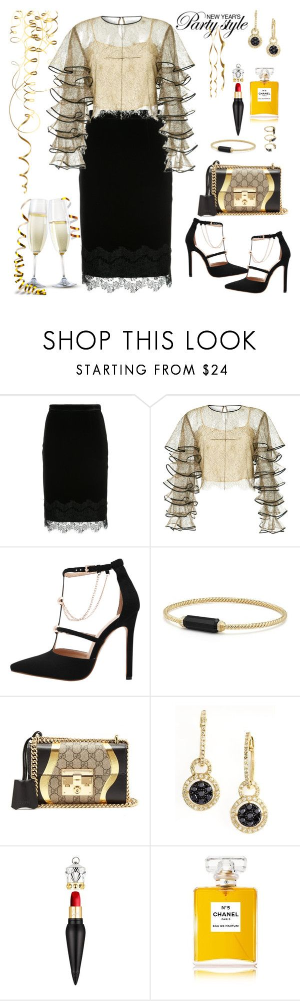"""New Year's Eve"" by ellie366 ❤ liked on Polyvore featuring Loveless, HUISHAN ZHANG, David Yurman, Gucci, Effy Jewelry, Christian Louboutin, Chanel, Noir Jewelry, Nuevo and lace"