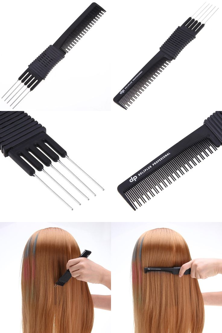 [Visit to Buy] Double ends 2 use Plastic Metal Hair Dye Coloring Brushes Comb Barber Salon Tint Hairdressing Styling Tools Hair Color Combs #Advertisement