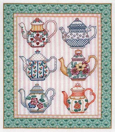 teacup cross stitch pattern free | Tea Time Cross-Stitch Design
