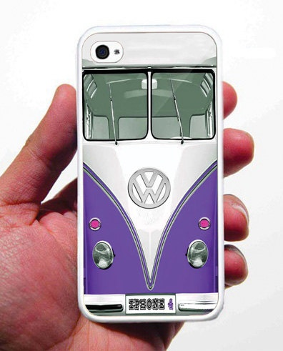 VW Retro Minivan Purple iPhone 4 Case Rubber Silicone - Screen Protector Included for Free. $12.95, via Etsy.