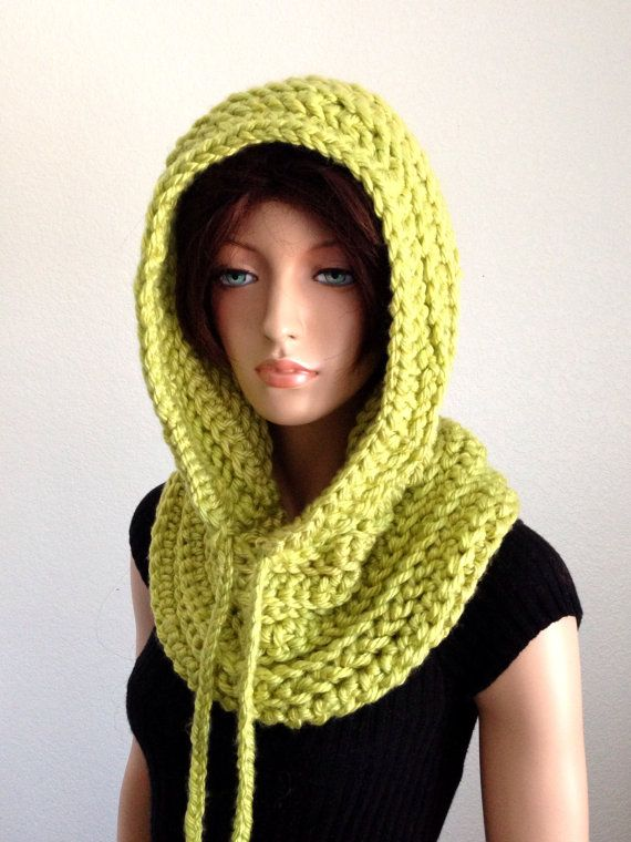 Hooded Cowl in Lime Green by Africancrab on Etsy
