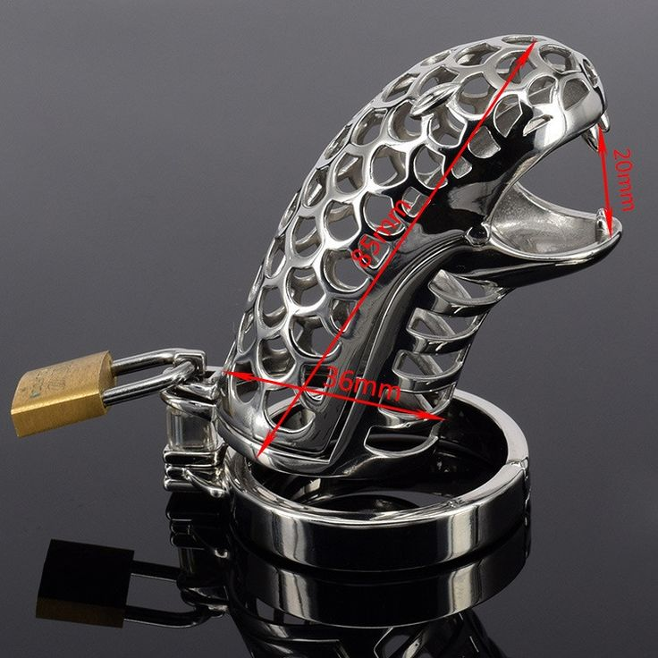 34.09$  Watch now - http://alidx3.shopchina.info/go.php?t=32660161367 - hot sale snake style stainless steel Male chastity Cage penis ring male chastity device cock cage fetish toys sex toy for man 34.09$ #magazine