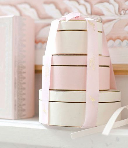 Gorgeous pale pink and cream boxes from Ladurée's in Covent Garden, London.