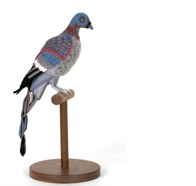 Artist Laurel Roth has a series of crochet pigeons called Biodiversity Reclamation Suits for Urban Pigeons.