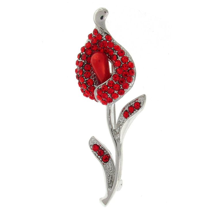 Brooches Store Red Crystal and Pearl Calla Lily Brooch