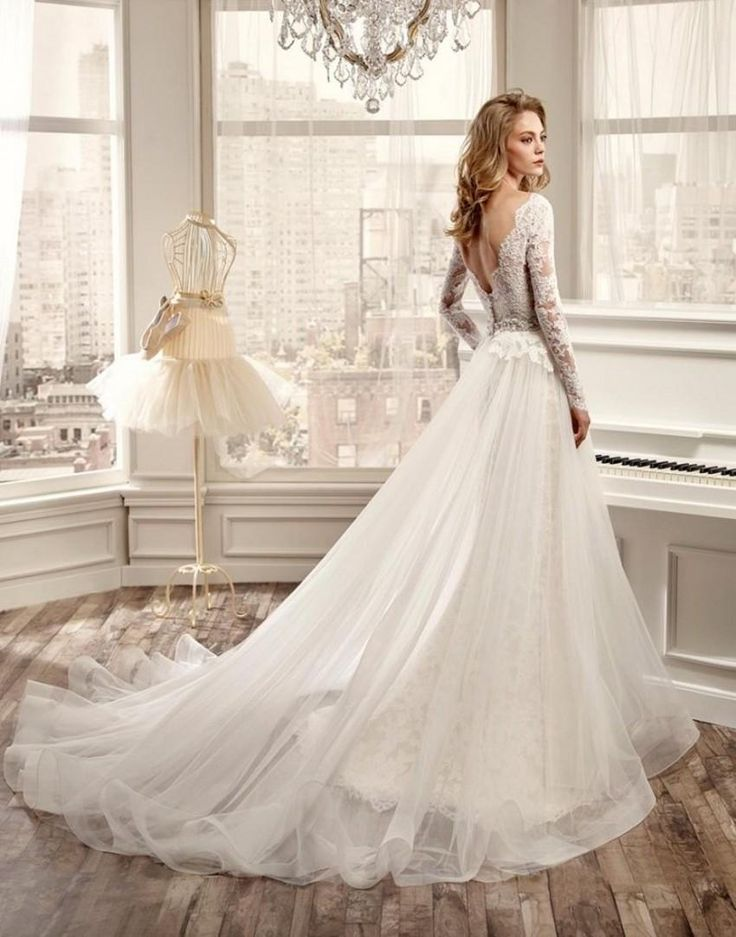 Nicol Spose Wedding Dress 2015 Gorgeous Illusion Long Sleeves V Neck Mermaid Lace Bride Dresses with Detachable Tulle Skirt Open Back Gowns Online with $246.24/Piece on Gardeniadh's Store | DHgate.com