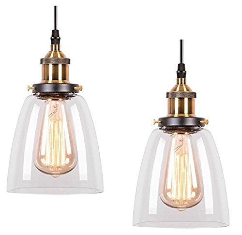 2 X Modern Vintage Victorian Bronze Metal Ceiling Pendant Glass Lamp Shade Chandelier