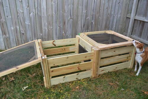 Make your own compose bin...from pallet wood.  Just make sure the pallet wood was heat-treated and not done by chemicals...