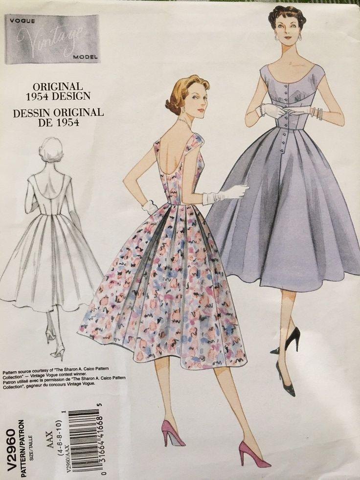 V2960 старинные 1950-х годов мода дизайн шитье 1954 выкройка платья покровителя де Кутюр | ибее