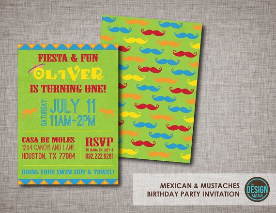 Colorful Mexican & Mustache Themed with Sombrero and Donkeys Birthday Invitation