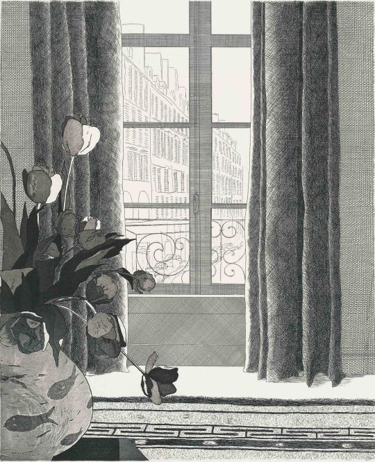 David Hockney (UK b. 1937) Rue de Seine (1971) etching and aquatint on J. Green wove paper 53.5 x 45.0 cm