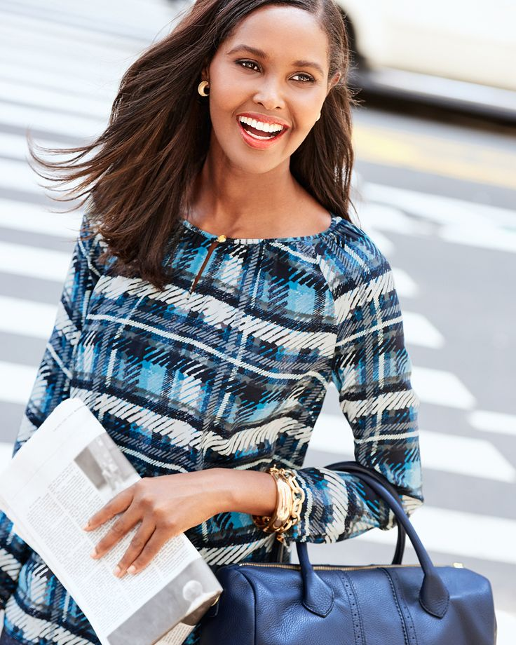 A traditional tartan top in bold vibrant colors and silky soft drape.