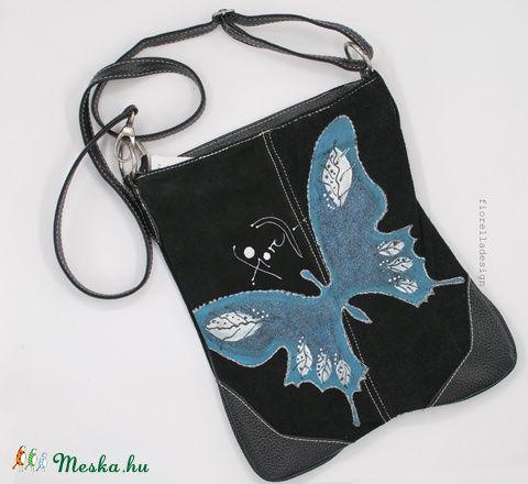 Fiorella pillangó fekete táska türkiz-ezüst, Táska, Válltáska, oldaltáska, Meska