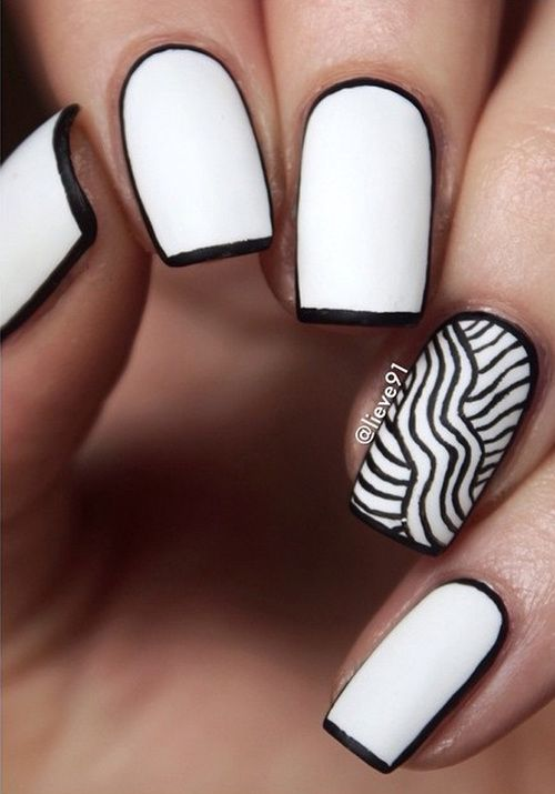 nails.quenalbertini: Black & White Nail Art Design by lieve91 | Nenuno
