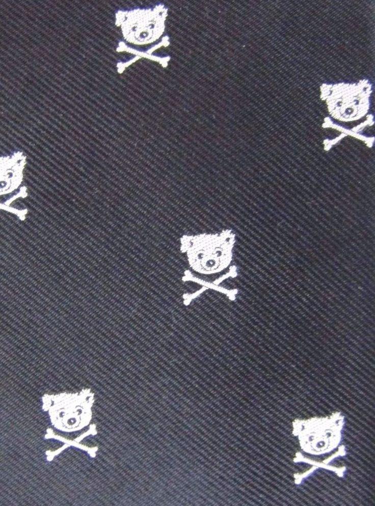 Rare ROBERT GODLEY Black & White Teddy Bear Crossed Bones Trendy Silk Neck Tie #RobertGodley #Tie