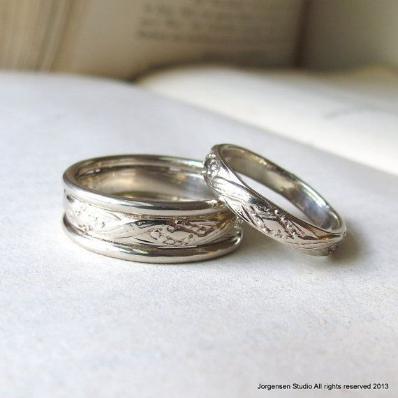 Boho White Gold Wedding Band Set Matching Wedding Bands His Etsy White Gold Wedding Bands White Gold Engagement Rings Unique White Gold Wedding Rings