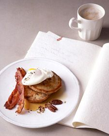 Poached Eggs with Bacon and Toasted Pecan Pancakes=forget the eggs, I want the toasted Pecan pancakes