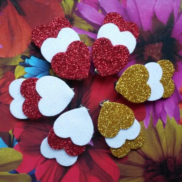 """Заколки-зажим """"Три сердца"""" из фоамирана ручной работы - купить или сделать на заказ. Магазин рукоделия Крафтбург   арт.:7244"""