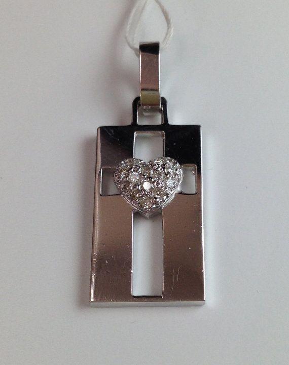 Diamond Heart on Cross Retangle Pendant - 14k White Gold $350